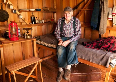 Billy Proctor in his loggers shack