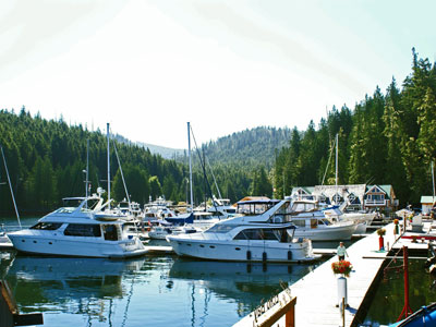 Full service marina in the Canadian wilderness.