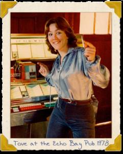 Tove at the Echo Bay Pub, 1978